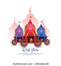 Vector Illustration of Ratha Yatra of Lord Jagannath, Balabhadra and Subhadra on Chariot.Odisha god Rathyatra Festival - Vecto