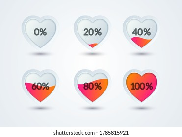 Vector Illustration Rating Hearts Set. Heart Shape Filled With Love