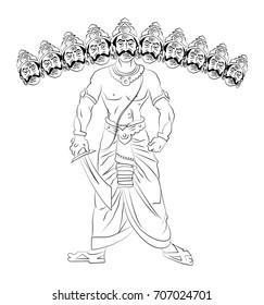 Vector Illustration of Ravana with 10 heads, Line drawing