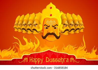vector illustration of Ravana burning in fire on Dussehra