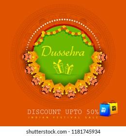 vector illustration of Ravana in Happy Dussehra Festival Offer