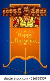 vector illustration of Ravana in Happy Dussehra