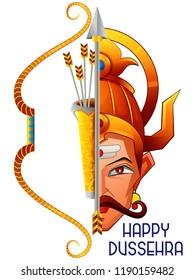 vector illustration of Ravana in Happy Navratri Dussehra festival of India
