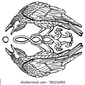 Vector illustration of raven catching sun reflection Celtic knot black and white