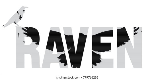 Vector illustration of the raven word with raven  silhouette with the fluttering wings. Double exposure effect.