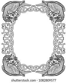Vector illustration of ravens gothic Celtic knot frame black and white