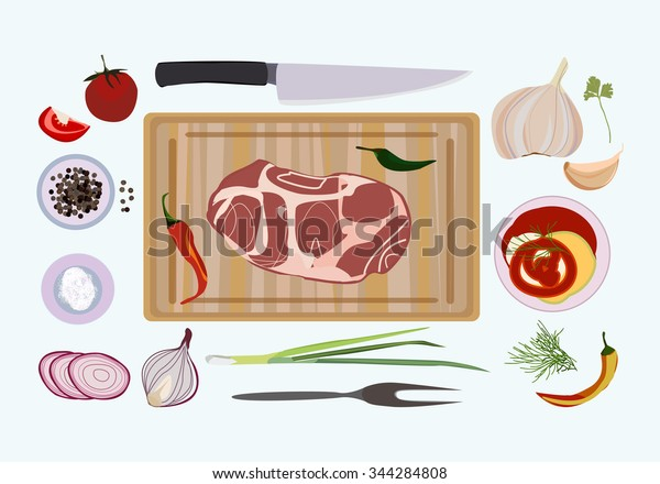 Vector illustration with raw fresh meat on wooden cutting board and salt, pepper, garlic, red onion, knife, fork, sauce, tomato.