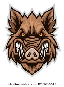 Vector illustration of razorback head isolated on the white background.