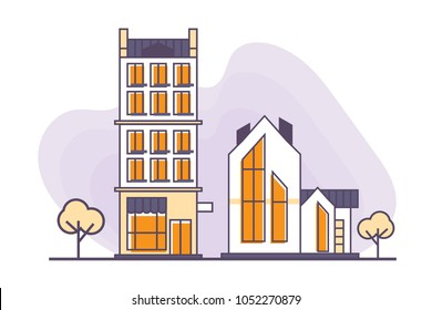 Vector illustration for real estate business: Urban and suburban buildings or houses made in a flat linear style. Suburban neighborhood real estate icon.