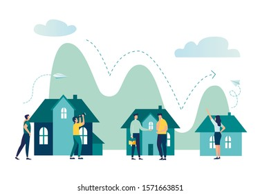 Vector illustration, real estate business concept with houses, decline in real estate sales