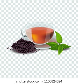 Vector illustration in realism style about black tea