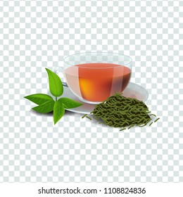 Vector illustration in realism style about green or herbal tea