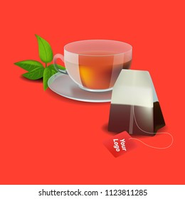 Vector illustration in realism style about tea bag