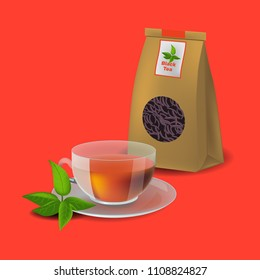 Vector illustration in realism style with tea packaging