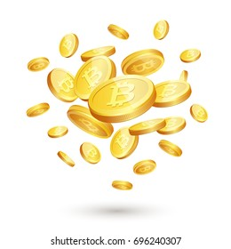 Vector illustration of realistic 3d golden coins with bitcoin sign. Digital currency or cryptocurrency for electronic payments, Bitcoin and blockchain technology concept.