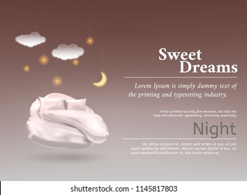 Vector illustration with realistic 3D pastel, blanket, pillow for best sleep, comfortable sleep.