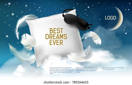 Vector illustration with realistic 3d square pillow with blindfold on it for the best dreams ever, comfortable sleep. Soft cushion. Relaxation, sleeping concept. Night, clouds, stars background.