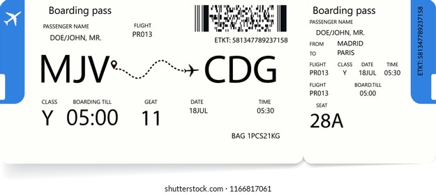 Vector illustration of realistic airline ticket or boarding pass design with flight time and passenger name. Concept of travel