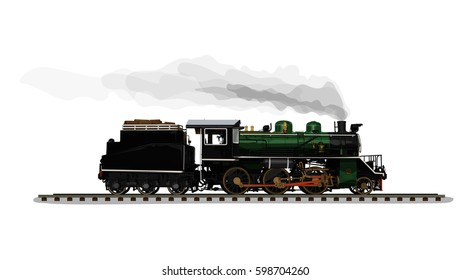 Vector Illustration: Realistic Ancient train Old steam locomotive C56 green and black world war generation of japan isolated on white background.