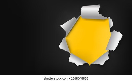Vector illustration of realistic black torn paper with rolled upsides and round-shaped hole with yellow background under it. Good for sale ad banners, web sites, flyers.