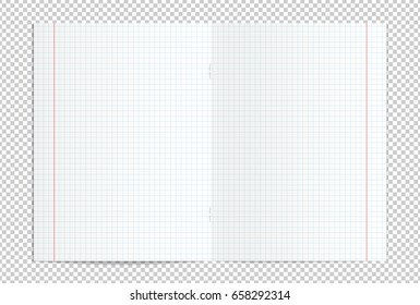 Vector illustration of realistic blank squared copy book spread isolated on transparent background. EPS 10