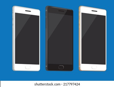 Vector illustration of realistic brand new smart phone in three different colors isolated on blue background