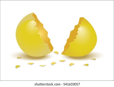 Vector illustration of realistic, broken golden egg with egg shells isolated on white background.