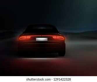Vector illustration of realistic car back lights glow in dark night background