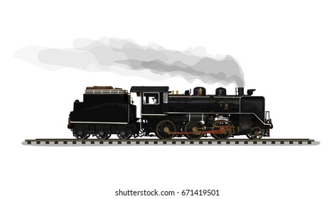 Vector Illustration: Realistic Classic black train Old steam locomotive isolated on white background.
