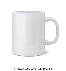 Vector illustration of realistic classic white cup
