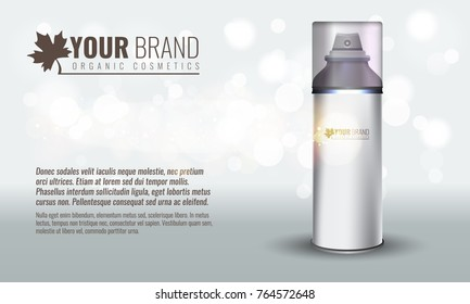 Vector illustration of Realistic cosmetic bottle for men with transparent cap with bokeh bubbles. Illustrated vector.
