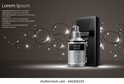 Vector illustration of  Realistic cosmetic bottles with package box