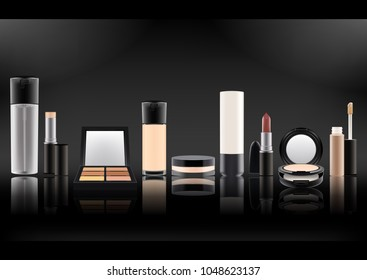 Vector illustration.Set of realistic cosmetic bottles.Plastic,matte transparent,glass with black lid.Mineral powder,lipstick,spray with dispenser,foundation,concealer.On a black backlit background.