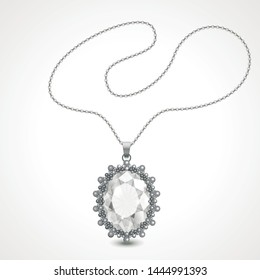 Vector illustration of realistic diamond necklace.
