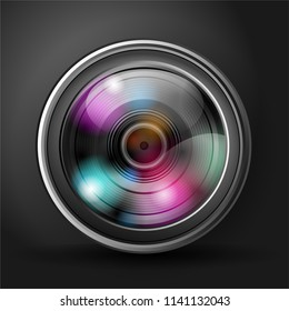 Vector illustration of realistic digital camera lens.