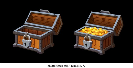 Vector illustration of realistic empty chest and chest with gold.