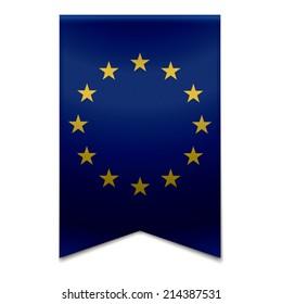 Vector illustration of a realistic european union flag EU - stars.