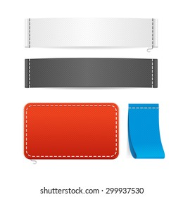 Vector Illustration Realistic Fabric Clothing Labels Set Ready Template For Your Text And Design
