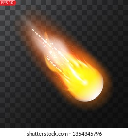 Vector illustration of realistic falling comet. Isolated transparent background. Shooting star, meteor. Meteorite with a tail