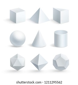 Vector illustration of realistic geometric shapes: cube, prism, cylinder, cone, sphere, pyramid or tetrahedron and octahedron, icosahedron, dodecahedron of gypsum isolated on white background