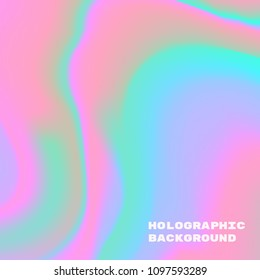 Vector illustration of realistic holographic hologram background, template of neon pastel iridescent foil texture for modern design