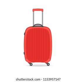 Vector illustration. A realistic large polycarbonate travel case. Isolated on white background.