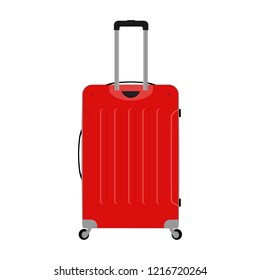 Vector illustration of realistic large polycarbonate travel plastic suitcase with wheels isolated on white background. Art design traveler luggage. Abstract concept graphic element
