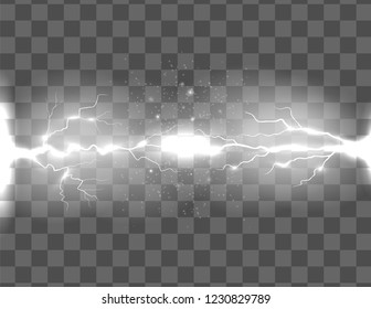 Vector illustration with realistic lightnings effect on transparent background