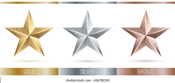 Vector illustration of realistic metallic 3 stars. Metal scratched texture. Decorated set of 3 stars. Vector illustration of 3 stars. Stars icon set, vector. Vector volume shiny five-pointed stars.