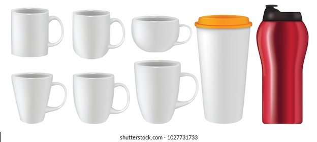 Vector illustration of realistic mug collection set isolated on white