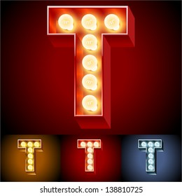 Vector illustration of realistic old lamp alphabet for light board. Red Gold and Silver options. Letter T
