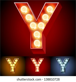 Vector illustration of realistic old lamp alphabet for light board. Red Gold and Silver options. Letter y