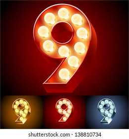 Vector illustration of realistic old lamp alphabet for light board. Red Gold and Silver options. Number 9