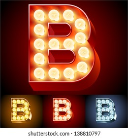 Vector illustration of realistic old lamp alphabet for light board. Red Gold and Silver options. Letter B